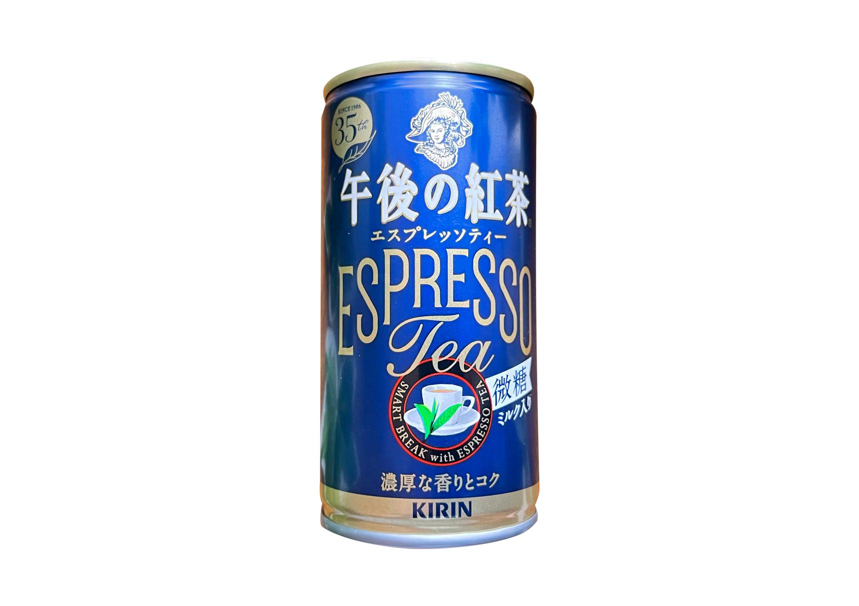キリン『午後の紅茶 エスプレッソティー微糖 185g 缶』は引き立つ茶葉の香りと強めの渋みがインパクト◎な大人系紅茶!